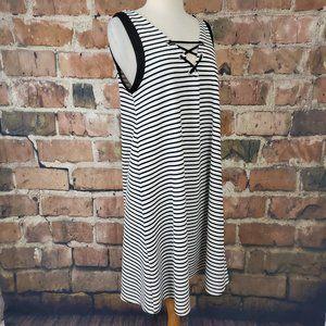 Michel Studio Sleeveless A-Line Dress Striped 16